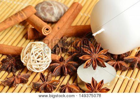 cinnamon,asterisk and candles (soft focus, lens blur)