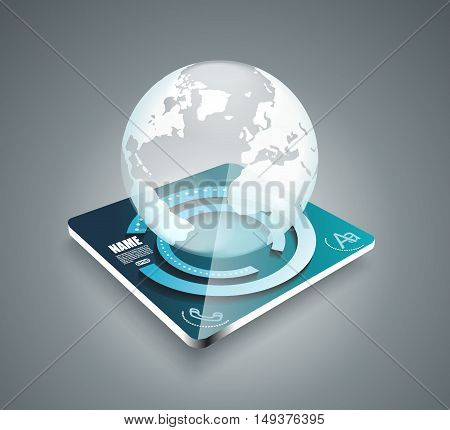 3D Business Abstract Background - Glass Globe On Smart Panel