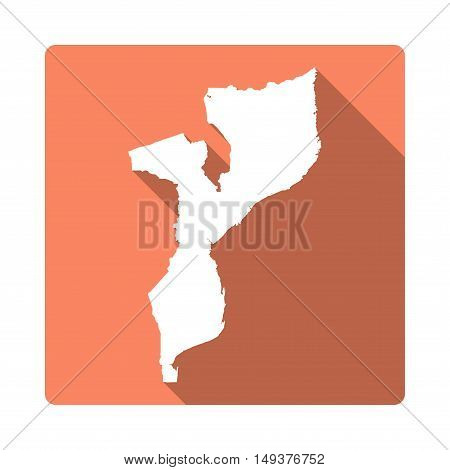 Vector Mozambique Map Button. Long Shadow Style Mozambique Map Square Icon Isolated On White Backgro