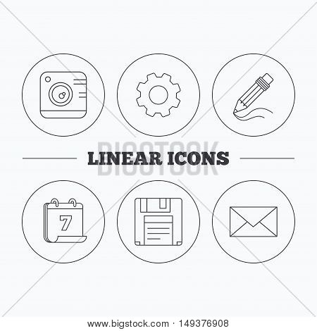 Photo camera, pencil and mail icons. Floppy disk linear sign. Flat cogwheel and calendar symbols. Linear icons in circle buttons. Vector