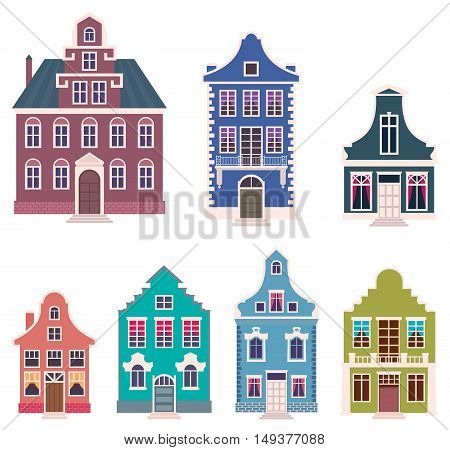 Set of colorful houses in the Dutch style cartoon vector illustration