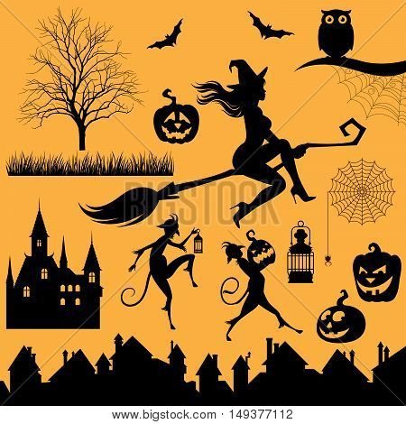 Set silhouettes of objects and characters on a Halloween theme Stock vector illustration
