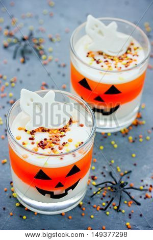 Candy corn layered jello - sweet treat for children on Halloween party
