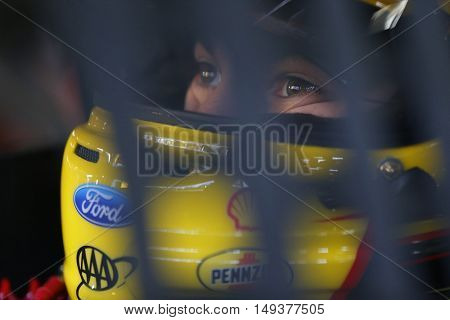 Loudon, NH - Sep 24, 2016: Joey Logano (22) gets ready to practice for the Bad Boy Off Road 300 at the New Hampshire Motor Speedway in Loudon, NH.