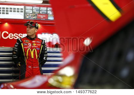 Loudon, NH - Sep 23, 2016: Jamie McMurray (1) hangs out in the garage during practice for the Bad Boy Off Road 300 at the New Hampshire Motor Speedway in Loudon, NH.