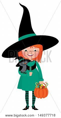 Little girl witch Halloween with an owl and pumpkin basket with sweets Stock vector illustration
