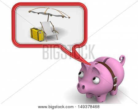 Lack of money on vacation. Pig piggy Bank wrap around strap and dreaming about vacation. The concept of the lack of savings for a vacation or holiday. Isolated. 3D Illustration