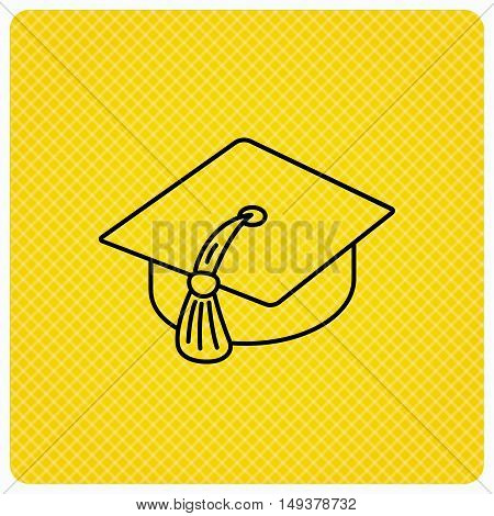 Graduation cap icon. Diploma ceremony sign. Linear icon on orange background. Vector