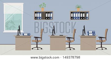 Office room. There is a workplace for three office workers in blue colors. Vector flat illustration. There are tables, chairs, computers, folders and other objects in the picture
