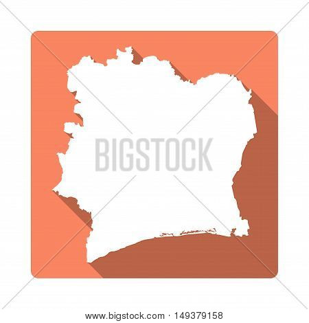 Vector Cote D'ivoire Map Button. Long Shadow Style Cote D'ivoire Map Square Icon Isolated On White B