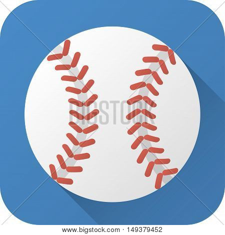 Vector illustration. Toy leather baseball ball in flat design with long shadow. Square shape icon in simple design. Icon vector size 1024 corner radius 180