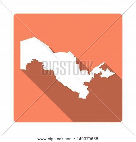 Vector Uzbekistan Map Button. Long Shadow Style Uzbekistan Map Square Icon Isolated On White Backgro