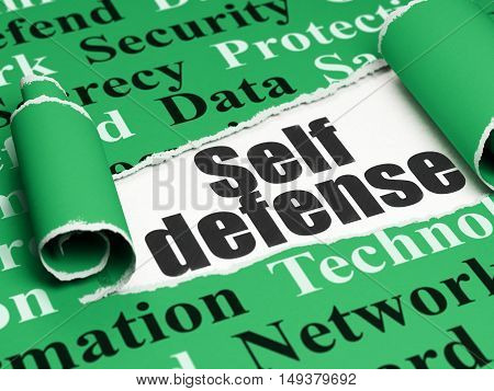 Privacy concept: black text Self Defense under the curled piece of Green torn paper with  Tag Cloud, 3D rendering