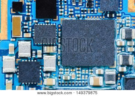 closeup smartphone mainboard macro photo. mobile technology