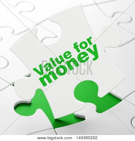 Money concept: Value For Money on White puzzle pieces background, 3D rendering