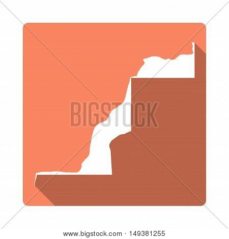 Vector Western Sahara Map Button. Long Shadow Style Western Sahara Map Square Icon Isolated On White