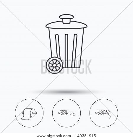 Trash bin, electricity and water counter icons. Toiler paper linear sign. Linear icons in circle buttons. Flat web symbols. Vector