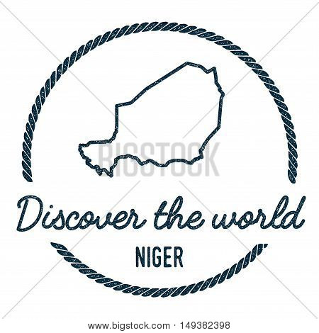 Niger Map Outline. Vintage Discover The World Rubber Stamp With Niger Map. Hipster Style Nautical Ru