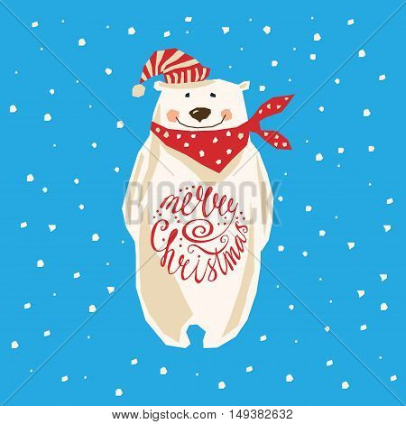 Polar Bear. Christmas card with polar bear
