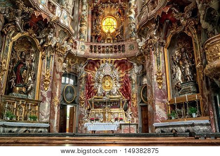 Munich, Germany- AUGUST 6, 2016: Interior of Asamkirche in Munich, Germany.