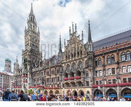 Munich, Germany- AUGUST 6, 2016: View of the Marienplatz in Munich, Germany.