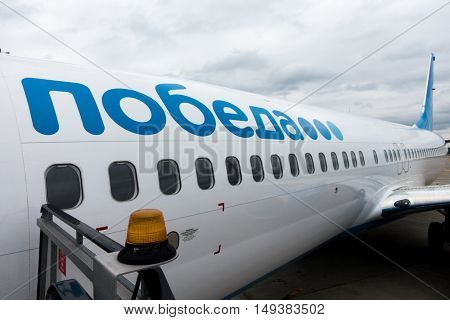 Moscow, Russia - September 19, 2016: Aircraft budget Russian airline's Pobeda before taking off at day time in Vnukovo airport