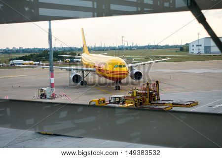 Bratislava, Slovakia - September 19. 2016: Aircrafts of DHL logistic company in the airport at day time
