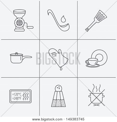 Soup ladle, potholder and kitchen utensils icons. Salt, not boil and saucepan linear signs. Meat grinder, water drop and coffee cup icons. Linear icons on white background. Vector