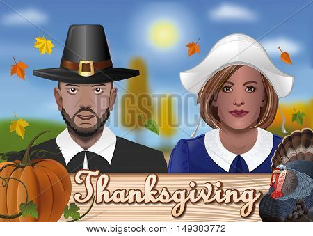 Thanksgiving design. Greeting card with the couple in national costumes of the first settlers, pumpkin, turkey and falling autumn leaves. Vector illustration