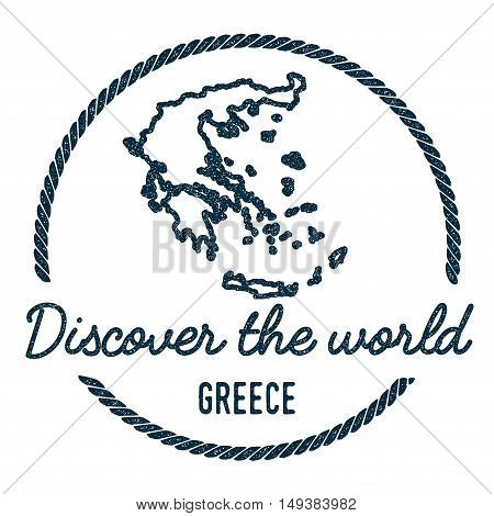 Greece Map Outline. Vintage Discover The World Rubber Stamp With Greece Map. Hipster Style Nautical