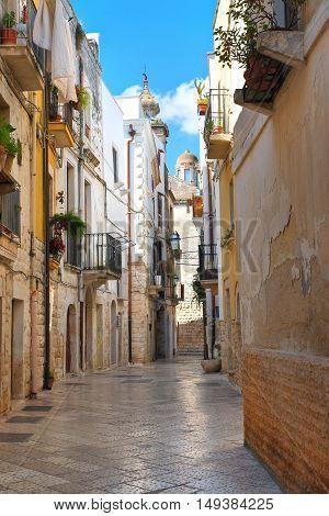 Perspective of an alleyway of Rutigliano. Puglia. Italy.