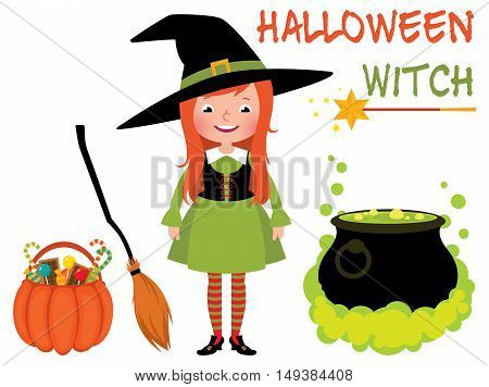 Set Halloween witch and her magical things vector cartoon illustration
