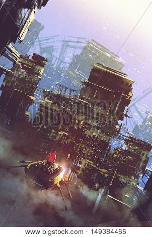 sci-fi scene of old building, cyberpunk concept, illustration painting