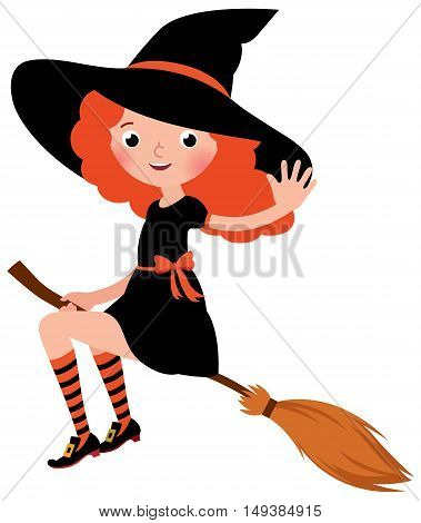 Little redhead sexy Halloween witch flying on a broomstick Stock vector illustration