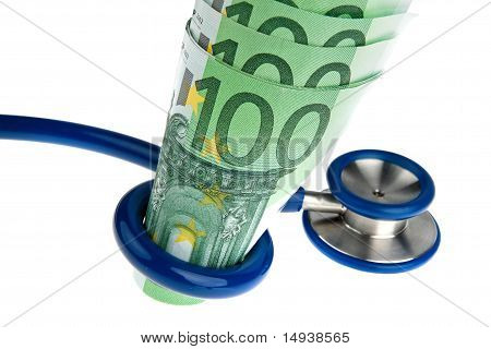 Costs of health with ? and stethoscope