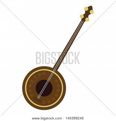 Dutar icon in flat style isolated on white background. Musical instrument symbol vector illustration