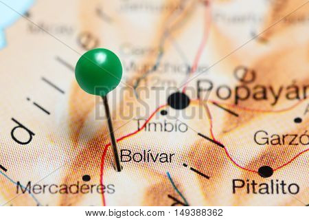 Bolivar pinned on a map of Colombia