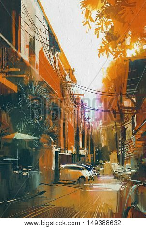 alley autumn city landscape, illustration digital painting