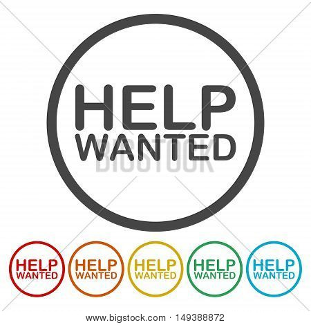 Help Wanted Sign icon set on white background