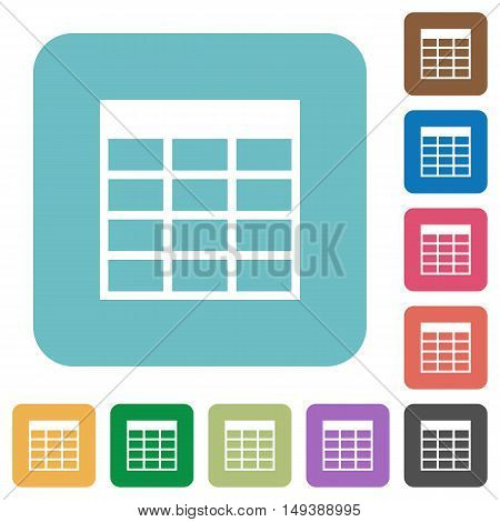 Flat Spreadsheet table icons on rounded square color backgrounds.