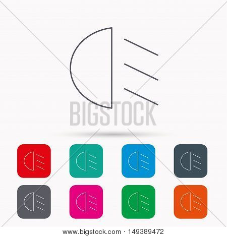 Passing light icon. Dipped beam sign. Linear icons in squares on white background. Flat web symbols. Vector