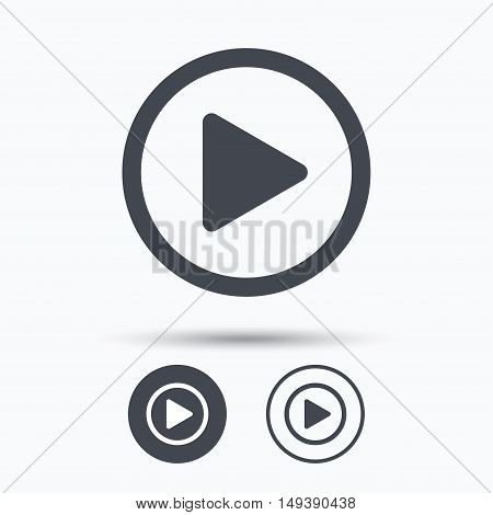 Play icon. Audio or Video player symbol. Circle buttons with flat web icon on white background. Vector