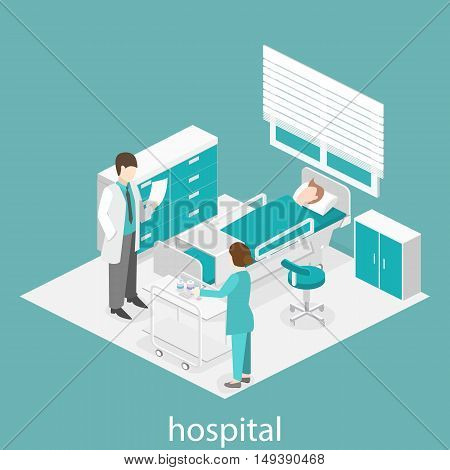 Isometric Flat Interior Of Hospital Room. Doctors Treating The Patient.
