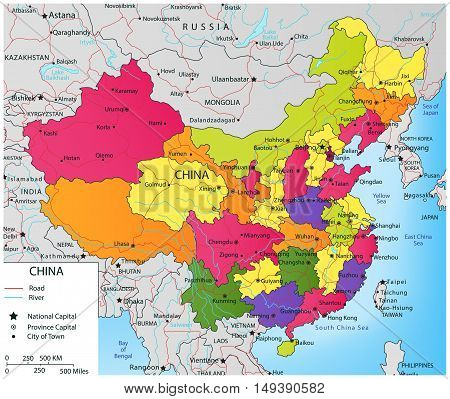 Colorful China political map with selectable territories. Vector illustration