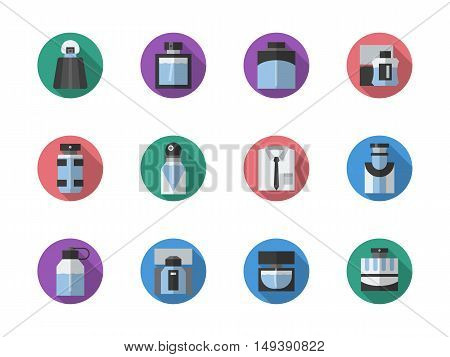 Different shape and design of perfume bottles. Perfumery and beauty products. Male and female fragrances. Round flat color style vector icons collection.