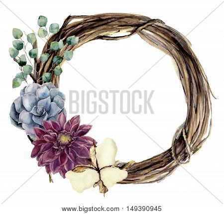 Watercolor floral wreath of twig. Hand painted wood wreath with silver dollar eucalyptus, dahlia, cotton flower and succulent. Floral illustration for design and background.