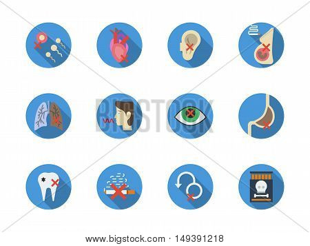 Effects and consequences of nicotine addiction. Harm of smoking for human organism - reproduction, cardiovascular system, lungs, vision and hearing. Round flat color style vector icons collection.