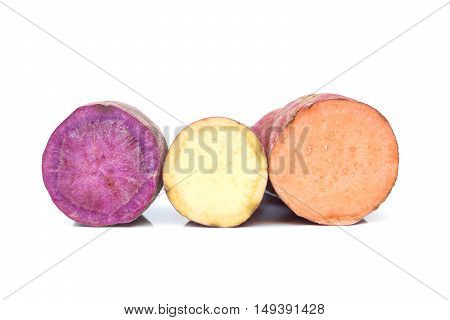 Sweet potato in three different color isolated