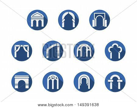 White silhouette of different types of arched gateways. Architecture arch, entrance design, classical construction. Round blue flat style vector icons collection.