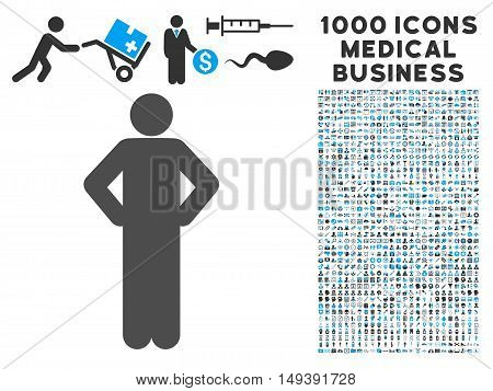 Akimbo Pose icon with 1000 medical business gray and blue vector design elements. Clipart style is flat bicolor symbols, white background.